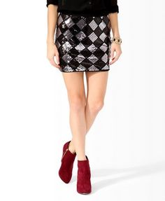 Sequined Checkers Skirt | FOREVER 21 - 2025101050