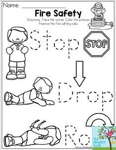 Stop, Drop and Roll Fire Safety for the month of October, fire prevention month! Fire Safety Crafts, Fire Safety Week, Preschool Fire Safety, Fire Safety For Kids, Summer Safety, Child Safety, Preschool Worksheets, Preschool Activities, Letter Worksheets