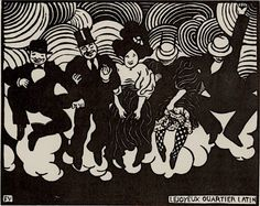 Félix Vallotton, (1865-1925), 1895, Le joyeux quartier latin (The cheerful Latin Quarter), Woodcut