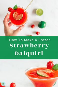 An easy to make Frozen Strawberry Daiquiri Cocktail Recipe for home summer cocktails. this refreshing cocktail drink with fresh strawberries and blended ice makes the perfect frozen slush cocktail #extraordinarychaos #summercocktails #frozendaiquiri Strawberry Daiquiri Recipe, Mango Daiquiri, Frozen Daiquiri, Daiquiri Cocktail, Cocktails To Make At Home, Cocktails For Parties, Frozen Cocktails, Summer Cocktails, Frozen Summer