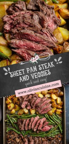Sheet Pan Steak and Veggies | www.oliviascuisine.com | Sheet Pan Steak and Veggies is easy to assemble and even easier to clean up! A complete steak dinner consisting of juicy skirt steak, potatoes, mushrooms, green beans and onions. Nothing can beat the delicious simplicity of this meal on a busy weeknight! (Recipe and food photography by @oliviascuisine.) #sheetpan #steak #onepan #steakdinner Skirt Steak Recipe Oven, Skirt Steak Recipes, Flank Steak Recipes, Steak Dinner Recipes, Dinner Entrees, Beef Recipes, Steak Dinners, Lunch Recipes, Steak And Green Beans
