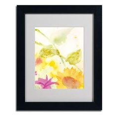 """Trademark Art """"Wind Sunflowers"""" by Sheila Golden Framed Painting Print Size: 20"""" H x 16"""" W x 0.5"""" D, Frame Color: Black"""