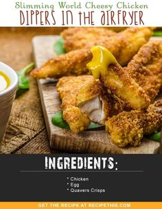 Welcome to my Slimming World cheesy chicken dippers recipe. Just three simple in. - Welcome to my Slimming World cheesy chicken dippers recipe. Just three simple ingredients and incre - Kfc Takeaway, Quick Puddings, Chicken Dippers, Gourmet Recipes, Healthy Recipes, Dinner Recipes, Bacon Fries, Cold Cake, Slimming World Recipes