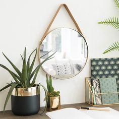 Miroir rond à suspendre en métal doré D30