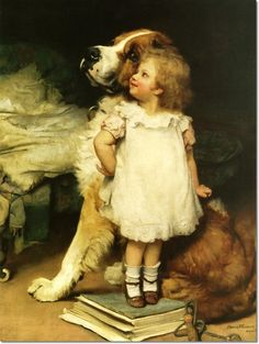 Sir Arthur J. Elsley - Ise Biggest with St. Bernard by Arthur J. Elsley Painting