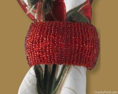 Red Cuff Beaded Napkin Ring