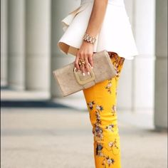 RARE!!! Zara Floral Print Pants VERY RARE!! Gorgeous yellow floral Zara pants. Stretchy material. SOLD OUT!! So hard to find! Size medium, but they run a little small. Worn once, excellent condition Zara Pants