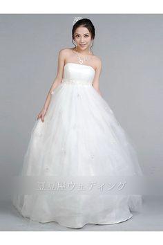 【楽天市場】ウェディングドレス エンパイア ビスチェ フロア丈 トレーン無し レースアップ ホワイト(White) TT0010010028:豆豆屋
