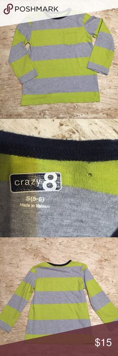 👑Crazy 8 Striped Long Sleeve Tee. Size S (5-6) 👑Crazy 8 Striped Long Sleeve Tee. Size S (5-6). Super cute longsleeved T-shirt gray and chartreuse green with Navy blue  around collar. One small pinhole where Tag was on back of neck. See picture 2. Barely noticeable and does not look like it's running. No stains, excellent condition otherwise. Crazy 8 Shirts & Tops Tees - Long Sleeve