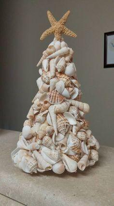Christmas Tree Village, Christmas Time, Christmas Crafts, Christmas Decorations, Holiday, Seashell Art, Seashell Crafts, Beach Crafts, Coastal Christmas Decor