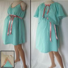 Maternity Hospital Gown with Bed Jacket delivery nursing gown breastfeeding gown. $89.00, via Etsy.