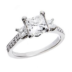 Justice Wedding Collection Justice Wedding Collection Three-Stone Palladium Diamond Engagement Ring #justicejewelers