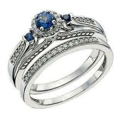 Blue Orchid Wedding Engagement and Wedding Ring Set: Blue Saphire and Diamond with White Gold Set
