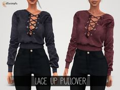 Elliesimple - Lace up Pullover - The Sims 4 Download - SimsDomination