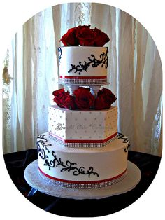 Elegant White, Black and Red Wedding Cake