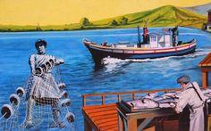2. Martinez murals Main and Estudillo streets: In 2011, Martinez resident Mario Alfaro painted two murals highlighting historic aspects of the city. The first mural depicts John Muir and his home, native son Joe DiMaggio and the Pony Express. The second illustrates Italian fisherman working in and around the waters of the Carquinez Strait.