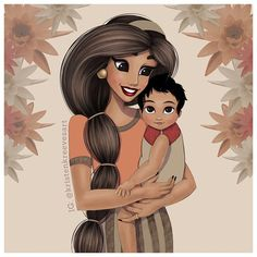 """Pin for Later: Artist Shows What Follows """"Happily Ever After"""" With Her Drawings of Disney Princesses as Moms Jasmine"""