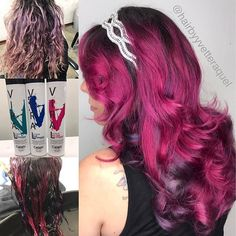 """WEBSTA @ hairbyyvetteraquel - """"Unrequited Love"""" ❤️ on the beautiful @cheekythedreamer3 Used all @celebluxury Viral Shampoo in Hot Pink with Ribbons of Teal and Blue. She's wearing @pinkpewter Headband. #1000orbust #vividclique  #growtogether .#hairofinstagram#hairtrends#scissorsalute…"""