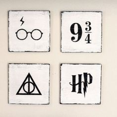 Harry Potter Hand Painted Wooden Signs Piece Set) by YellowDogSigns on Etsy – Paris Disneyland Pictures Baby Harry Potter, Signe Harry Potter, Harry Potter Tisch, Harry Potter Canvas, Estilo Harry Potter, Décoration Harry Potter, Harry Potter Thema, Harry Potter Painting, Harry Potter Nursery