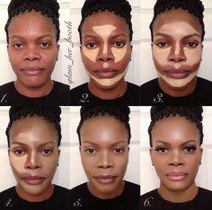 Contouring Peau noire > Contouring – Contouring and Highlighting Highlighter Makeup, Contour Makeup, Skin Makeup, Concealer, Contour For Dark Skin, How To Contour Your Face, Contour Face, Le Contouring, Contouring And Highlighting
