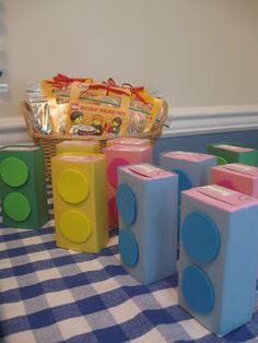 Lego juice boxes - also game and decor ideas for Lego party