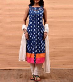 Blue Cotton Block Printed Kurti Salwar Designs, Blouse Designs, Indian Attire, Indian Wear, Indian Dresses, Indian Outfits, Kurtha Designs, Ethinic Wear, Kurta Patterns