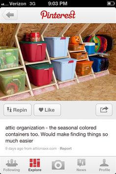 Attic organization using different colored bins for each season (orange for Halloween, Red for Christmas, Green for Easter, Blue for Independence day, etc.)