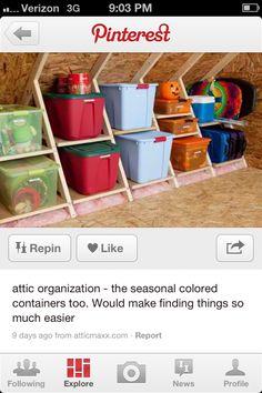 Love this attic organization