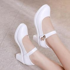 Click the pict for detail Plus Size Block Heels Platform Shoes Women Pumps 2019 Black White Heels Mary Jane Shoes Ladie Mid Block Heel Sandals, Gladiator Sandals Heels, Block Heels, Shoes Heels, Sexy Heels, Stiletto Heels, Dress Shoes, Platform Pumps, Women's Pumps