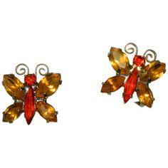 Park Lane Autumn Color Butterfly Rhinestone Earrings Red Rhinestone, Rhinestone Earrings, Clip On Earrings, Vintage Items, Vintage Jewelry, Vintage Fall, Butterfly Earrings, Stone Cuts, Fall Leaves