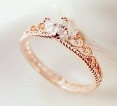 Bestow Me Rose Gold Crown Ring, zircon ring, crown ring, princess ring, rose gold ring by DaintyPalor on Etsy Cute Jewelry, Gold Jewelry, Jewelry Rings, Jewelry Accessories, Gold Bracelets, Tiffany Jewelry, Gemstone Jewelry, Diamond Jewelry, Antique Jewelry