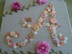 Baby Monogram Button Letter Unique by letterperfectdesigns