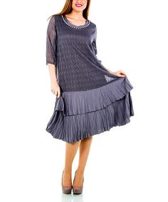 Another great find on #zulily! Anthracite Sheer Tiered Crepe Dress - Plus by La Mouette #zulilyfinds