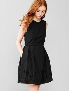 Laser-cut fit & flare dress
