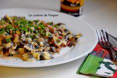 Pâte papillon à l'encre de sèche aux champignons et lardons - La cuisine de Ponpon: rapide et facile!