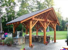 Now that's a great detail- infilling the structure with natural tracery - from Woodlot Woodworks, in Adirondack, NY Timber Frame Homes, Timber Frames, Summer Porch, Pergola Plans, Pergola Ideas, Wooden Pergola, Pergola Shade, Pergola Designs, Fine Woodworking