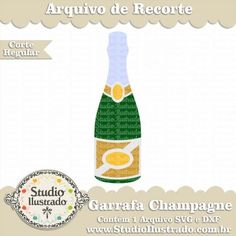 Garrafa de Champanhe, Champagne Bottle, Feliz Ano Novo, Happy New Year, Feliz año nuevo, Festa, Party, Regular Cut, Corte Regular, Silhouette, SVG, DXF, PNG