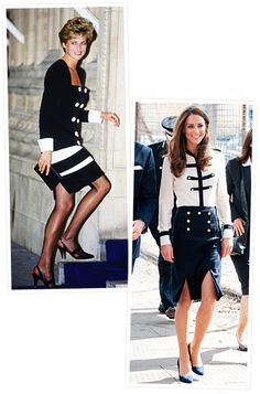 Princess Diana and Kate Middleton's Similar Style  Black and White  Princess Diana arrived at the Royal Albert Hall in 1990 wearing a chic black and white skirt suit. In 2011, the Duchess of Cambridge chose a similar military-inspired ensemble by Alexander McQueen while visiting a community center in Birmingham