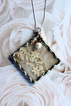 Vintage Ecru Lace Soldered Pendant. $27.95, via Etsy.