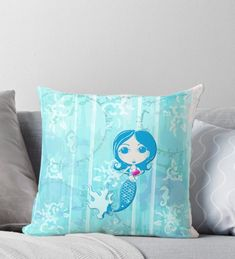 'Inspired by You - Azure Mermaid, of Throw Pillow by LittleMissTyne Iphone Wallet, Iphone Cases, Mermaid Gifts, Art Boards, Clock, Lovers, Throw Pillows, Gift Ideas, Inspired