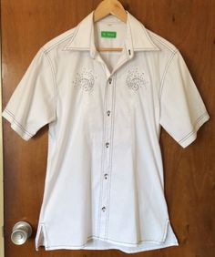 MC REMON White Shirt Size L Short Sleeve Silver Stars Casual Summer Cotton Blend #MCREMON #ButtonFront