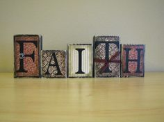 Faith Word Blocks Home Decor Religious by PunkinSeedProduction, $30.00