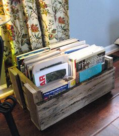 Magazine holder made of repurposed pallets