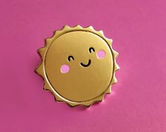 Happy Sunshine Enamel Lapel Pin | cute hat pin badge