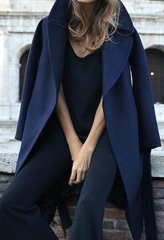 navy coat outfit winter trends fw1617