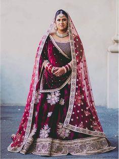 Beautiful Indian bride in maroon velvet Sabyasachi wedding lehenga. Indian Bridal Lehenga, Indian Bridal Outfits, Indian Bridal Fashion, Plus Size Wedding Outfits, Wedding Dresses, Sikh Wedding, Wedding Lehnga, Gothic Wedding, Wedding Poses