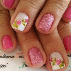 Nail Art Diy, Diy Nails, Finger Nails, Nail Arts, Spring Nails, Manicures, Roses, Nail Polish, Makeup