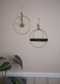 Image of Double circle with black thread wall hanging