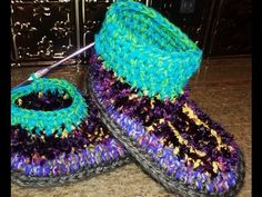 CROCHET SLIPPER BOOTS TUTORIAL - PART 5 - YouTube