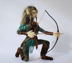 Fairy doll, OOAK soft sculpture, cloth art, fantasy doll, elf doll, faery doll, archer: Elfshot
